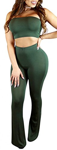 Army Of Two Outfit (Womens Cute Two Piece Padded Bra Long Maxi Flare Pant Outfits Set Army Green 21S)