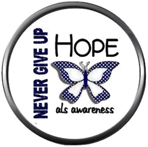 Snap Jewelry Never Give Up ALS Lou Gehrigs Disease Awareness Ribbon Hope Find The Cure 18MM - 20MM Charm ()