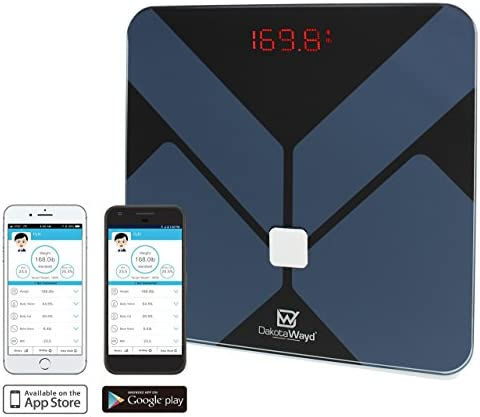 Bluetooth Body Fat Scale with iOS and Android App Smart Wireless Digital Bathroom Scale for Body Weight, Body Fat, Water, Muscle Mass, Bmi, Bmr, Bone Mass and Visceral Fat by DakotaWayd Black