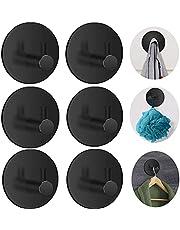 6 Packs Adhesive Hooks Heavy Duty Wall Hooks Waterproof Stainless Steel Hooks for Hanging Coat, Hat, Rustproof Towel Robe Hook Rack Wall Mount for Bathroom Bedroom Kitchen