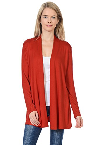 Pastel by Vivienne Women's Long Sleeve Jersey Cardigan X-Large Rust