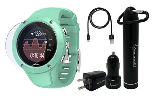 Suunto Spartan Trainer Wrist HR Multisport Lightweight GPS Watch and Wearable4U Ultimate Power Pack Bundle Ocean
