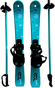 Kids Plastic Snow Skis & Poles Age 2-4 with Bindings for Snow Boots - Fun