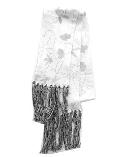 (Playboy Bunny and Heart Logo White Scarf with Tassles )