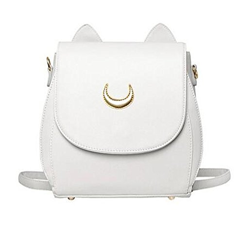StillCool Cosplay Moon Mark PU Leather Cat Shape Chain Backpack Women Girls Handbag Shoulder Bag Rucksack (White Backpack) (Bag Shape)