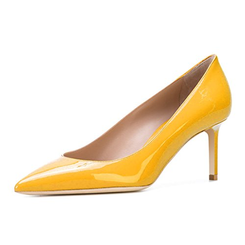 with paypal sale online XYD Womens Elegant Patent High Heel Pumps Pointed Toe Slip On Evening Party Dress Shoes Yellow Cheapest cheap online clearance pre order tIOIsX61I