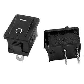 eDealMax a11123000ux0154 ON-Off I/O 2 Posición SPST Snap en interruptor de palanca, 6 Amp / 250V, 10 Amp / 125V AC, 10 Piece, Negro: Amazon.com: Industrial ...
