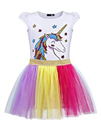 Jurebecia Unicorn Dress Girls Two-Piece Clothes Birthday Party Halloween Outfit Age 2-10 Years