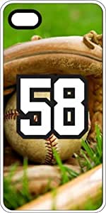Baseball Sports Fan Player Number 58 Clear Plastic Decorative iPhone 4/4s Case