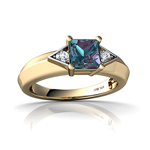 14kt Yellow Gold Lab Alexandrite and Diamond 5mm Square Art Deco Ring - Size 8 (Ring Alexandrite 14kt)