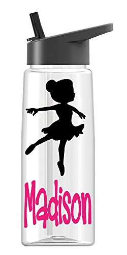 Personalized Sport Water Bottle Ballerina Girl Design with Name BPA Free 26 oz, Clear or Colored -