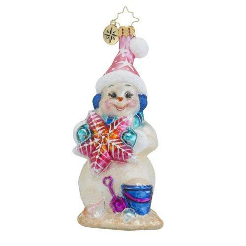 Christopher Radko Sea Shore Sandy Surf & Sun Snowman Christmas Ornament