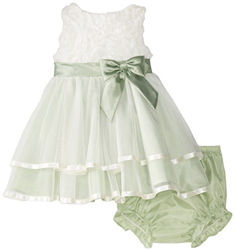 Rare Editions Baby Baby Girls' Ivory Sage Soutach To Mesh Social Dress, Ivory/Sage, 24 Months
