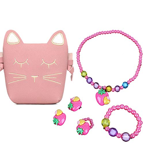 Little Girls Pink Cute Cat Crossbody Bag Necklace Earrings Ring Bracelet Kids Toddler (Pink Strawberry)]()