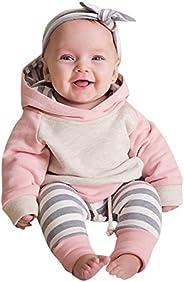 Sameno Infant Baby Boys Girls Clothes Stripe Long Sleeve Hoodie Tops Sweatsuit Long Pants 3 Pcs Layette Sets