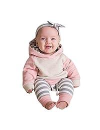 Baby Boy Girl Long Sleeve Cotton Hoodie Tops Pants Sweatsuit Headband 3PC Outfit