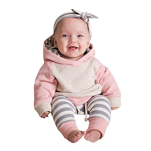 Clearance 3Pcs Newborn Baby Girl Clothes Striped Long Sleeve Hooded Tops Pant Hat Outfits Set (0-3 M, Pink)