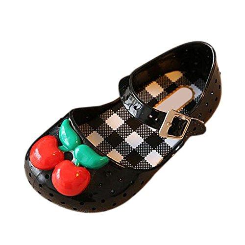 Zhuhaixmy Baby Mädchen Anti-Rutsch Atmungsaktiv Kirsche Lässige Weich Gelee Schuhe Kleinkind Kinder Strand Sandalen Regen Stiefel Schwarz