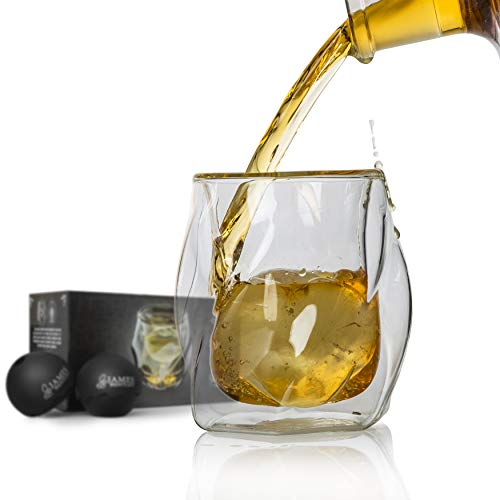 James Bentley Double Wall Whiskey Glasses set+FREE Sphere Ice Ball Mold x2 for whisky glasses set, Set of 2, Unique Tumblers for Drinking Scotch, Bourbon, Brandy, Liquor, Luxury Gift Set by James Bentley Glass