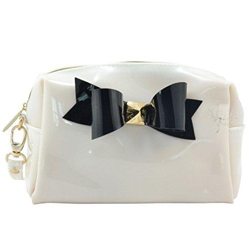 Bow Elegant Clutch Bag / Cosmetic Bag for Women - White