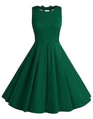 BeryLove Women's Vintage 50s Polka Dot Bowknot Retro Swing Cocktail Party Dress