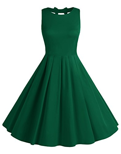 Guys For 1950s Costumes (BeryLove Women's Vintage 50s Polka Dot Bowknot Retro Swing Cocktail Party Dress ArmyGreen Size)
