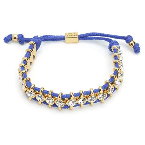 Juicy Couture Black Label Gold Crystal Blue Cord Friendship Bracelet YJRU8379