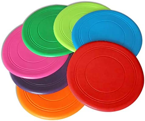 Dog Toy Frisbee - Children`s Frisbee - Pet Frisbee - Training Silicone Frisbee - One Pack of Multi-Color 7 Frisbee