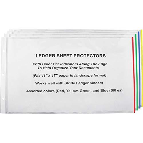 Stride EasyFit Color Bar Sheet Protectors, 11'' x 17'', Landscape Orientation, Box of 60 (61400)