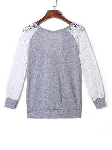 CHARLES RICHARDS CR Women's Lace Panel Back Cut Out Long Sleeve Sweatshirt hot sale