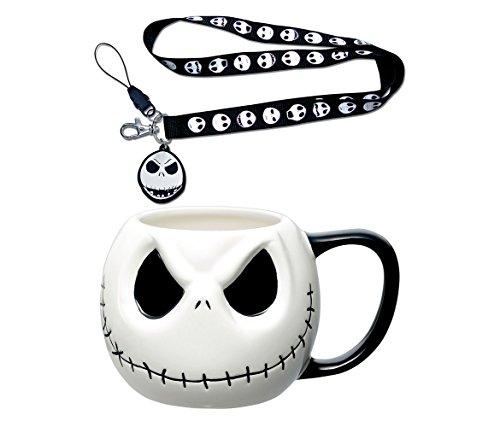 Mozlly Value Pack - Disney The Nightmare Before Christmas Jack Skellington Lanyard and Jack Skellington Head Ceramic 19oz Coffee Mug (2 Items) -