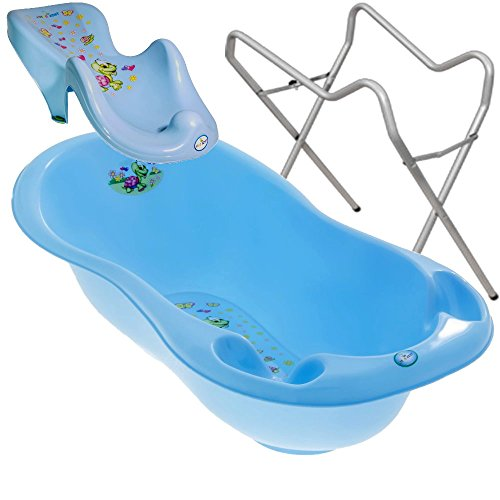BABY BADESET Babybadewanne + Badesitz + Ständer (Blau)