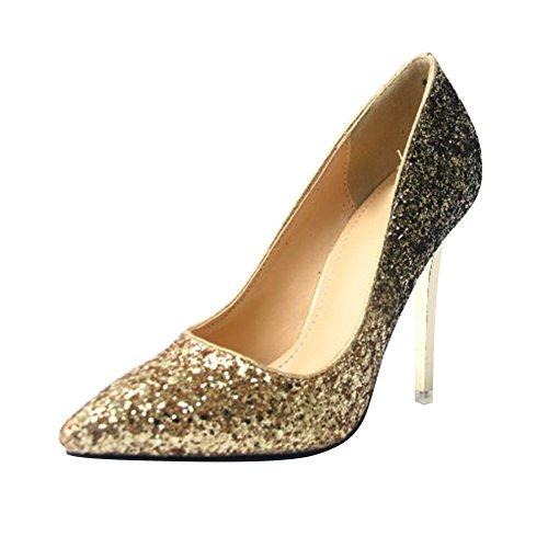 Womens Fashion Pointed Toe Gradient Glitter High Heeled Performance Pump Golden 31b3q