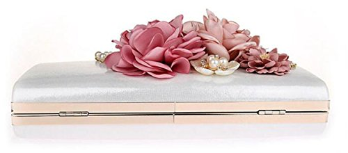 Capacity Flora Wedding Purse Handbags Evening Women Wallet Vintage Clutch Bags Party EPLAZA Large White tpxE8wvqv