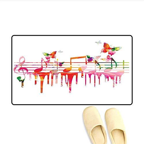 (Bath Mat Colorful Artwork Music Notes Clef Composer Orchestra Decorative Classic Door Mat Indoors 16