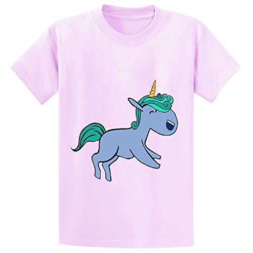 Mcol Cute Unicorn Blue Kid's Crew Neck Customized T-shirt Pink
