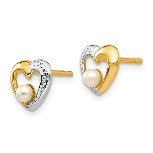 ICE CARATS 14k Yellow Gold Freshwater Cultured Pearl Heart Post Stud Ball Button Earrings Love Fine Jewelry Ideal Mothers Day Gifts For Mom Women Gift Set From Heart by ICE CARATS (Image #3)