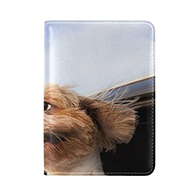 56aec10f19 durable service Dog Window Motion Leather Passport Holder Cover Case Travel  One Pocket