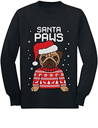 Santa Paws Pug Ugly Christmas Sweater Dog Youth Kids Long Sleeve T-Shirt Small Black
