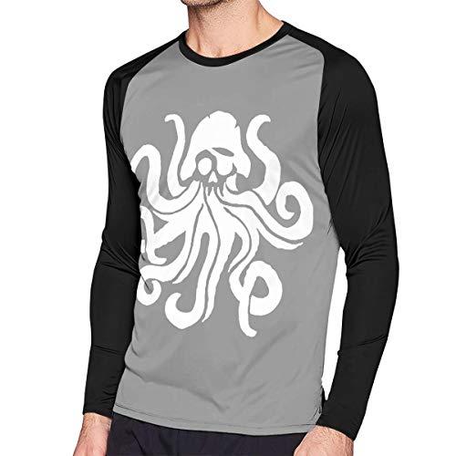 Men's Casual Octopus Sea Fish Long Reglan Jersey Baseball T-Shirt