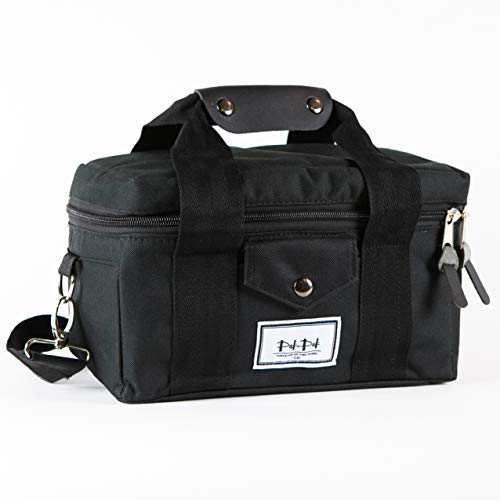 nch Box Cooler Bag - for Men, Women and Kids, with Easy Pull Zippers Leather Handle and Padded Shoulder Strap Lunchbox Bags ()