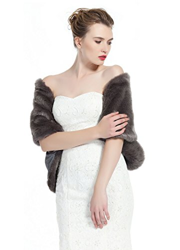 Luxury Bridal Party Evening/Wedding Faux Fur Shawl Wrap Stole-S51(Stone Gray)