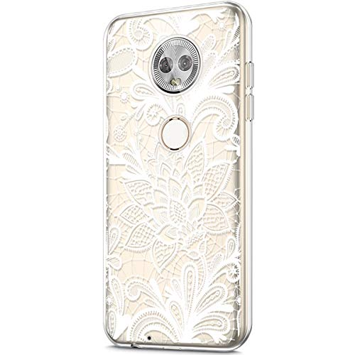 Crystal Generation Rubber Case (ikasus Case for Moto G6,Crystal Clear Art Panited Design Soft & Flexible TPU Ultra-Thin Transparent Soft Rubber Gel TPU Protective Case Cover for Moto G6 Silicone Case,White mandala flower A)