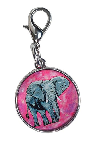 Elephant Zipper Pull Charm, Bag Charm (African Elephant - Kelly)