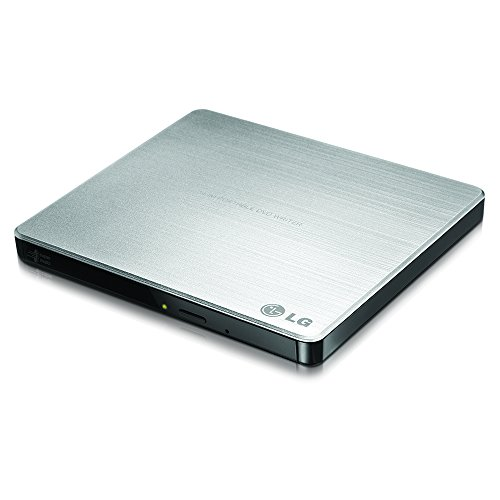 LG Electronics 8X USB 2.0 Super Multi Ultra Slim Portable DVD+/-RW External Drive with M-DISC Support, Retail (Silver) GP60NS50