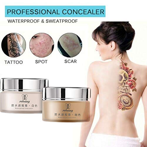 Fullwei 2-Colored Body Concealer, Waterproof Tattoo Concealer Cover Up for Blemish, Birthmarks, Vitiligo, Scar, Professional Camouflage Makeup Cream, Including Brush and Bottle for Mixing (A)