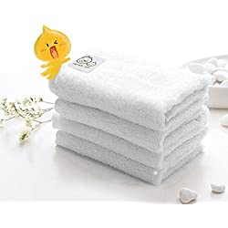 "Father.son 10""x10"" Bamboo Baby Washcloths Premium Soft Absorbent Towels Set for Baby's Sensitive Skin Perfect Reusable Wipes with Gift Box (Pack of 7) (White)"