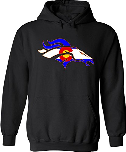 Colorado Bronco Hoodie. Sweatshirt With Hood. Colorado Flag Hoody.