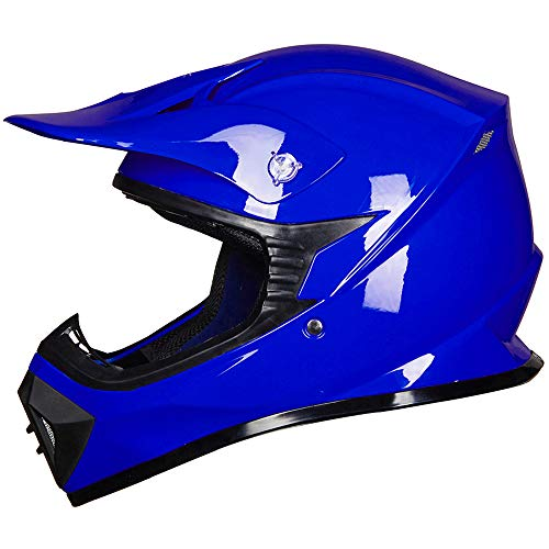 ILM Youth Kids ATV Motocross Dirt Bike Motorcycle BMX MX Downhill Off-Road MTB Mountain Bike Helmet DOT Approved (BLUE, Youth-S)