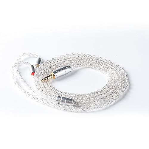 (KBEAR 8 Core Silver Plated Copper Braided Replacement Cable, Upgrade Stereo Audio Contact Replacement Cable Replacement for KZ ZSN ZSN Pro AS16 CCA A10 CA4 QDC series (2pin 3.5MM))